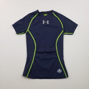 Under Armour Boys Blue And Green Short Sleeve Top